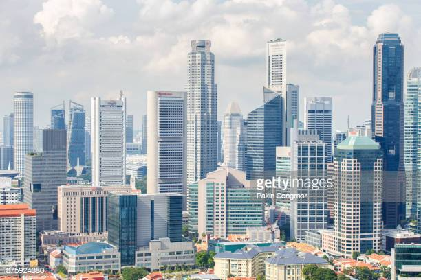 top views skyline business building and financial district in sunshine day at singapore city, singapore - singapore city stock pictures, royalty-free photos & images