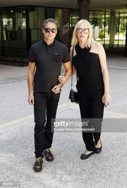 Topacio Fresh and Israel Cortes attend the funeral chapel for the fashion designer David Delfin at Dress Museum on June 4 2017 in Madrid Spain