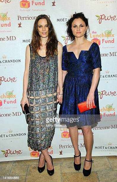 Topaz PageGreen and Rain Phoenix attends the 2012 Lunchbox Fund Bookfair auction at Del Posto on March 21 2012 in New York City