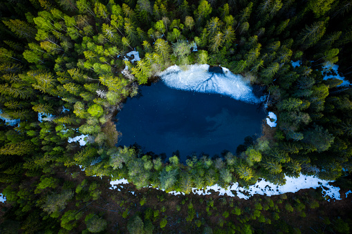Top-down aerial view of a small lake in the middle of a forest. Still ice on the water. - gettyimageskorea