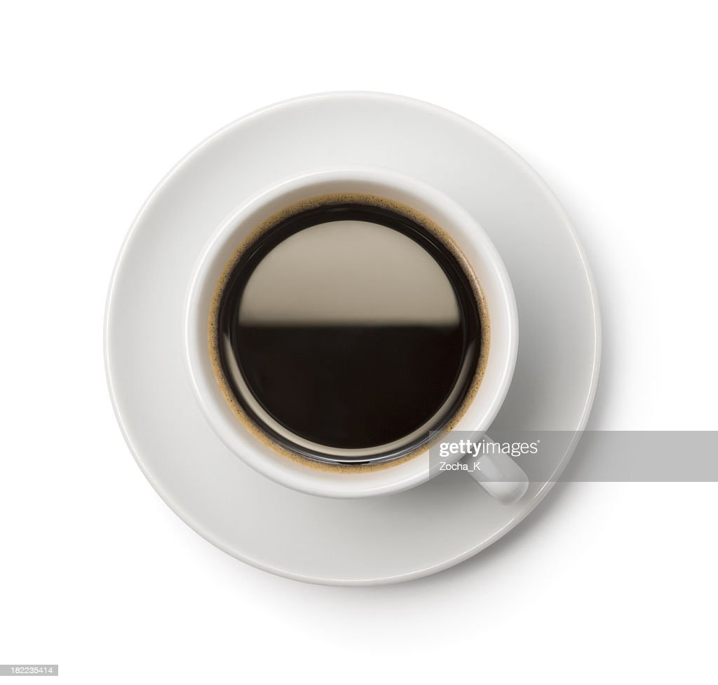 A Top Down Picture Of Cup Coffee On Plate