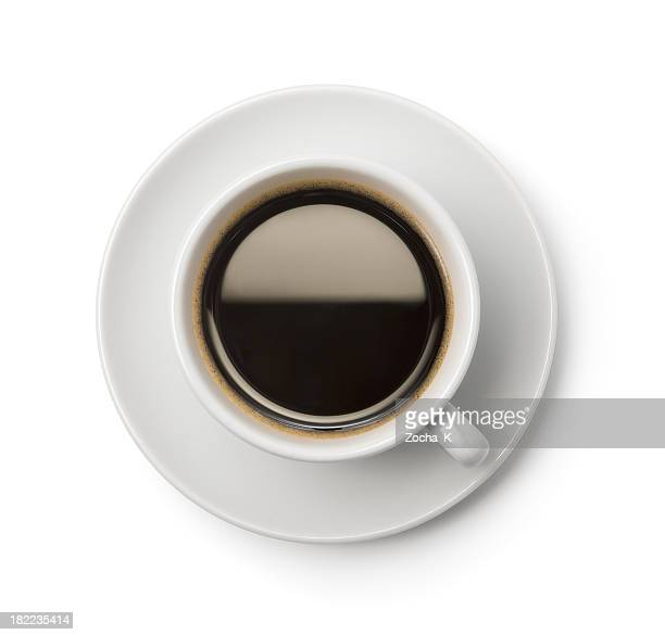 A top-down picture of a cup of coffee on a plate
