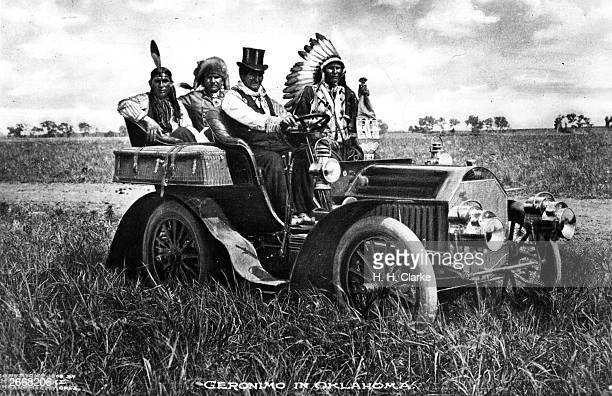 Tophatted Chiricahua Apache chief Geronimo who once terrorised the settlers of Arizona and northern Mexico driving a motor car in Oklahoma where he...