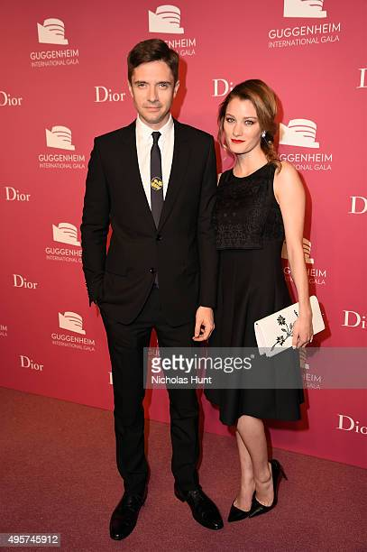 Topher Grace and Ashley Hinshaw attend the 2015 Guggenheim International Gala PreParty made possible by Dior at Solomon R Guggenheim Museum on...