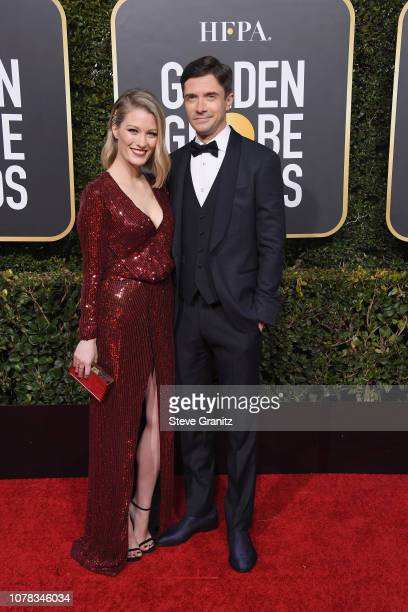 Topher Grace and Ashley Hinshaw attend the 76th Annual Golden Globe Awards at The Beverly Hilton Hotel on January 6 2019 in Beverly Hills California