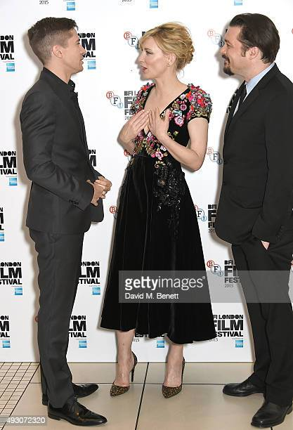 Topher Grace Cate Blanchett and James Vanderbilt attend the 'Truth' Fellowship Special Presentation Gala during the BFI London Film Festival at Odeon...