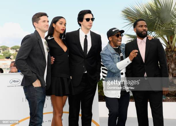 Topher Grace Laura Harrier Adam Drive Spike Lee and John David Washington attend the photocall for the 'BlacKkKlansman' during the 71st annual Cannes...