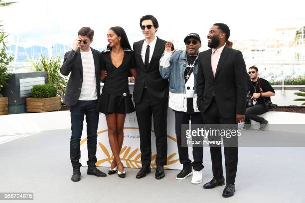 Topher Grace Laura Harrier Adam Driver director Spike Lee and John David Washington attend the photocall for BlacKkKlansman during the 71st annual...