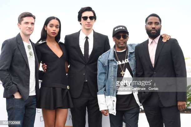 Topher Grace Laura Harrier Adam Driver Spike Lee and John David Washington attends BlacKkKlansman Photocall during the 71st annual Cannes Film...