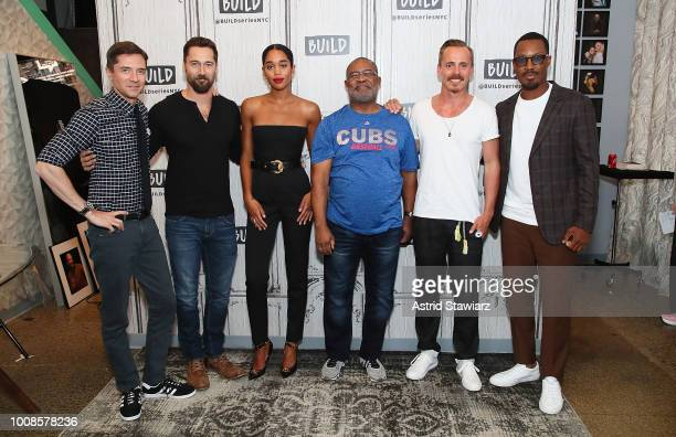 Topher Grace, Ryan Eggold, Laura Harrier, Ron Stallworth, Corey Hawkins and Jasper Paakkonen discuss the Spike Lee film 'BlacKkKlansman' at Build...