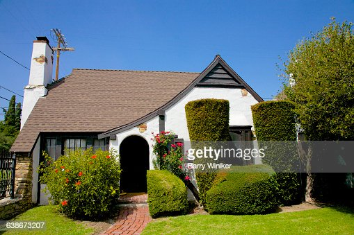 Topiary near snow white cottage los angeles stock photo for Snow white cottages los angeles