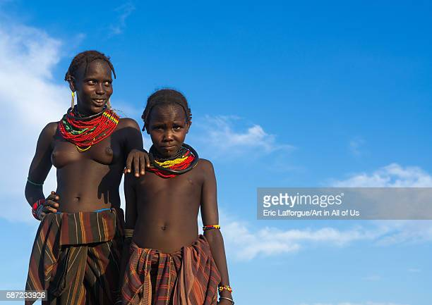 Topless dassanech tribe woman omo valley omorate Ethiopia on March 16 2016 in Omorate Ethiopia
