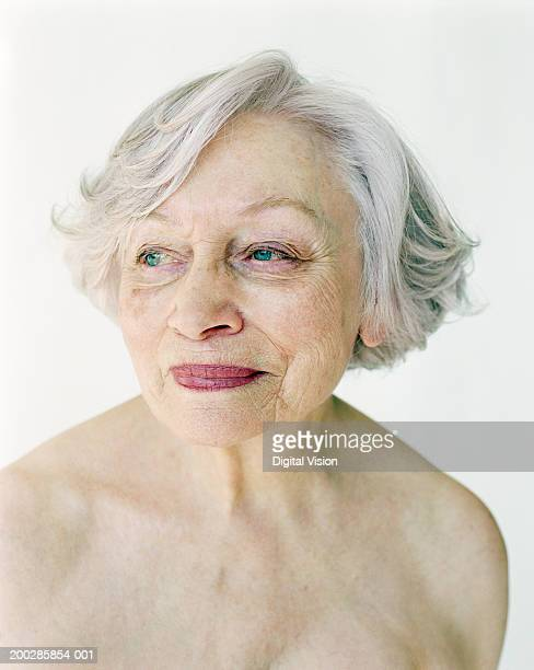 Topless senior woman, close-up
