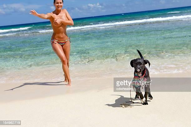 topless woman chasing a puppy with stolen bikini top - ontbloot bovenlichaam stockfoto's en -beelden