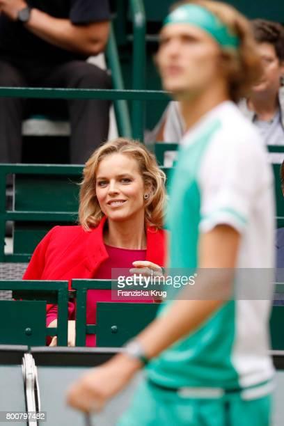 Topmodel Eva Herzigova and tennis player Alexander Zverev attend the Gerry Weber Open 2017 at Gerry Weber Stadium on June 25 2017 in Halle Germany