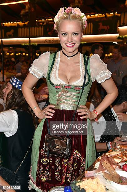 Topmodel Franziska Knuppe wearing a Lola Paltinger Dirndl during the Oktoberfest attend the BILD Wiesn at Marstall Festzelt during the Oktoberfest at...