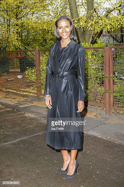 Topmodel Sara Nuru wearing a dress of COS attends the presentation of a joint project by COS and Michael Sailstorfer on April 27 2016 in Berlin...