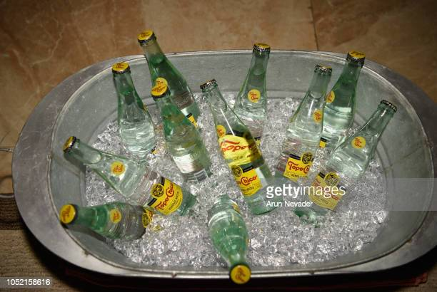 TopoChico backstage at Los Angeles Fashion Week Powered by Art Hearts Fashion LAFW SS/19 Day 4 at The Majestic Downtown on October 14 2018 in Los...