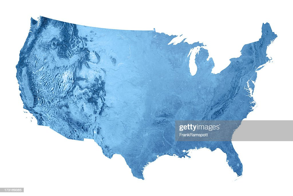 USA Topographic Karte Isoliert : Stock-Foto