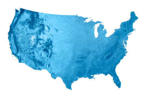 USA Topographic Map Isolated 173169385