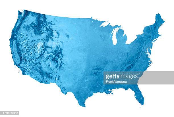 USA Topographic Map Isolated