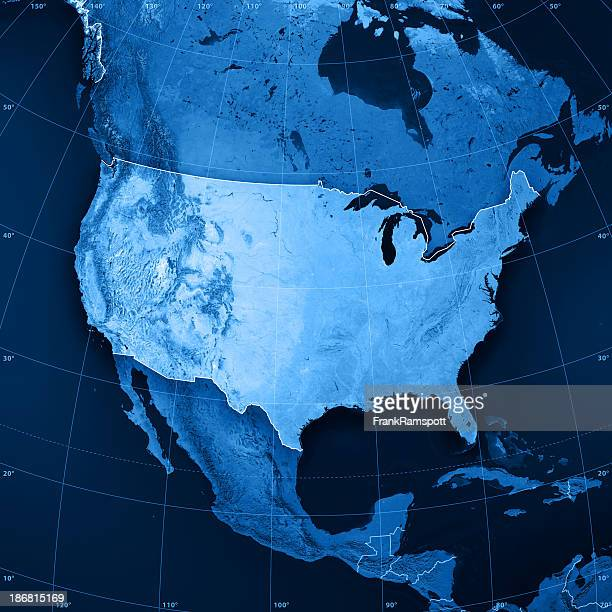 usa topographic map - cartography stock photos and pictures