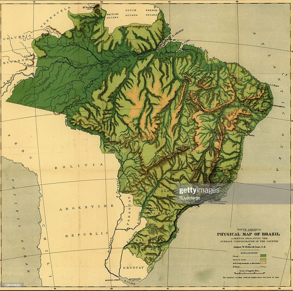A Topographic Map Shows Brazil The Amazon River Its Tributaries