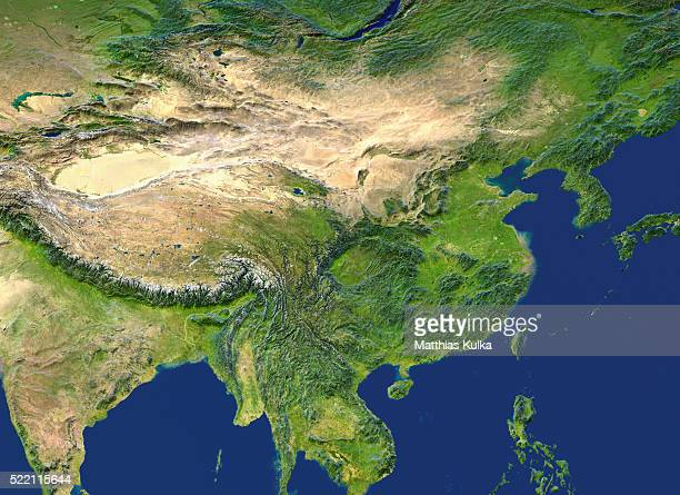a topographic view from space of china - southeast asia stock pictures, royalty-free photos & images
