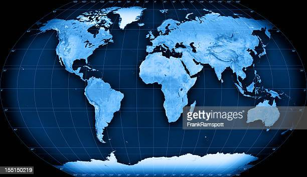 topographic world map kavraisky vii projection - frankramspott stockfoto's en -beelden