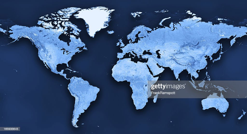 Topographic World Map Political Divisions : Stock Photo