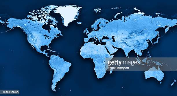 topographic world map political divisions - world map stock photos and pictures