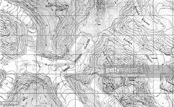 Topographical map of the Johns Hopkins Glacier a twelve mile glacier located in Glacier Bay Alaska 1900