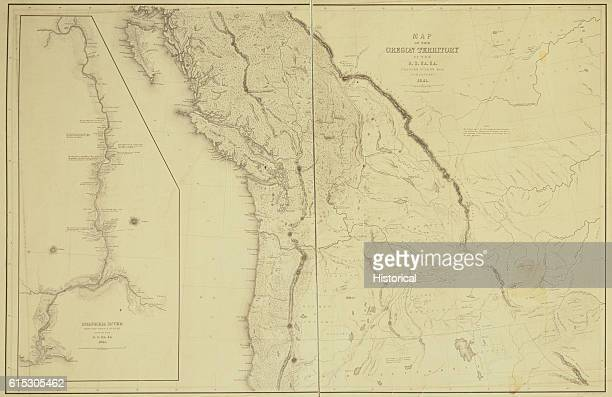 A topographical map of the Oregon Territory currently the states of Oregon Washington Idaho and Montana along with a good portion of British...
