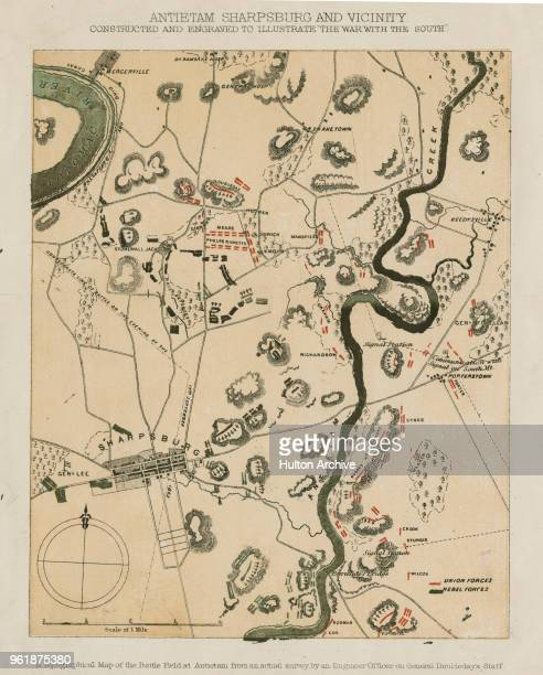 A topographical map showing the positions of General George B McClellan's Union Army of the Potomac and the Confederate Army of Northern Virginia...
