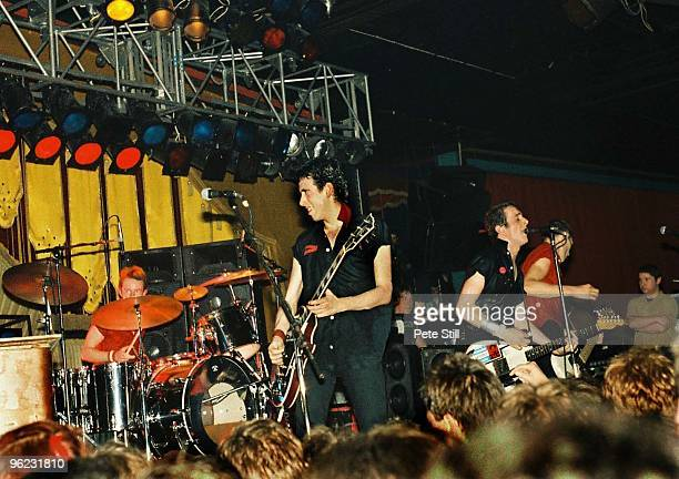 Topper Headon, Mick Jones, Joe Strummer and Paul Simonon of The Clash perform on stage at Hammersmith Palais on June 16th, 1980 in London, United...