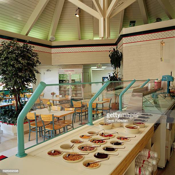 toppings behind counter at ice cream parlor - ice cream parlour stock pictures, royalty-free photos & images
