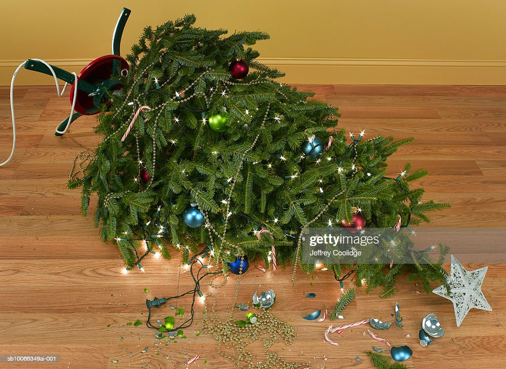 Toppled over Christmas tree with decorations and lights : Stock Photo