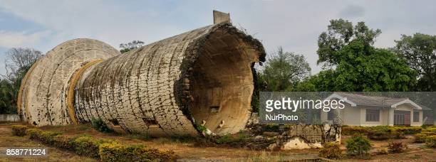 Toppled water tower in downtown Kilinochchi Jaffna Sri Lanka The water tower was bombed by the Tamil Tigers in the final stages of the long Sri...