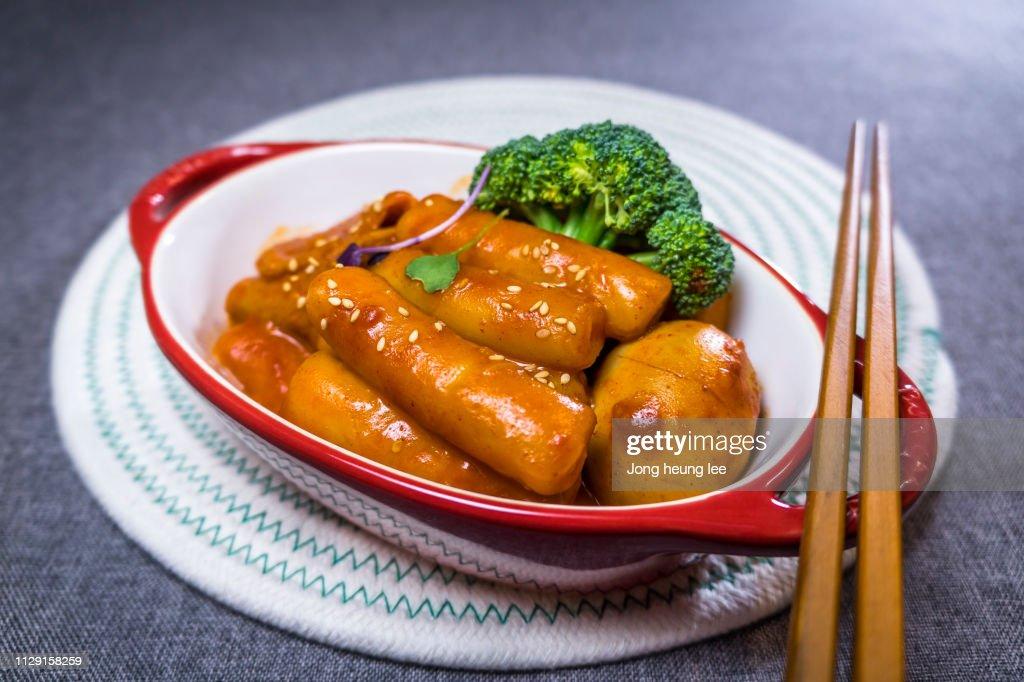 Toppokki, Korean Spicy Rice Cake : Stock Photo