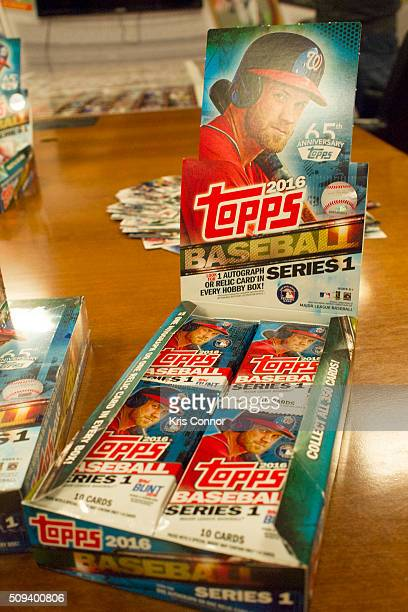 Topps' baseball cards from the 2016 season are on display during the Open Topps Baseball Series 1 Cards event at the Topps' offices on February 10...