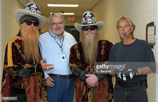 ZZ Topp's Billy Gibbons Dusty Hill and Frank Beard with Preston Williams of The Arena at Gwinnett Center