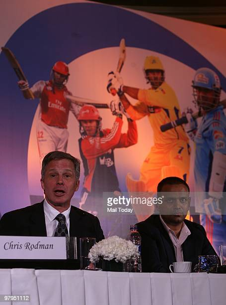 Topps Vice President Chris Rodman along with Chief Operating Officer Indian Premier League Sundar Raman during the announcement of a partnership to...