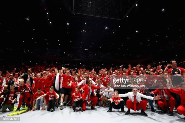 Top/Quoration fans and players celebrate after victory in the Dutch Korfball League Final between BlauwWit and TOP/Quoratio held at the Ziggo Dome on...