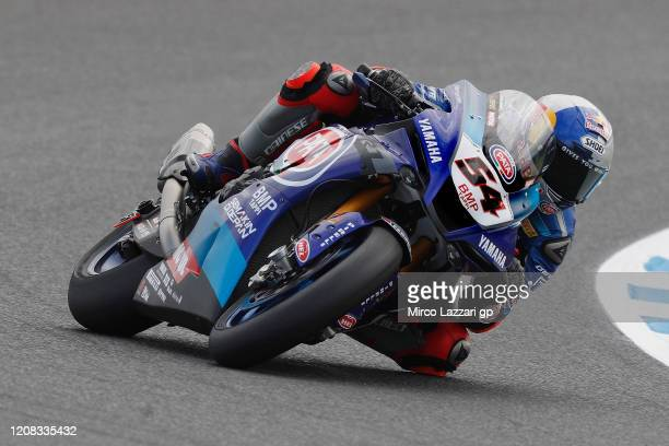 Toprak Razgatlioglu of Turkey and Pata Yamaha WorldSBK Official Team rounds the bend during the World Superbike Official Tests - Day One at Phillip...
