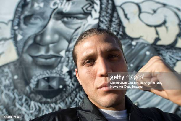 Topranked UFC featherweight Brian Ortega in front a mural of himself in Los Angeles Monday Nov 5 2018 The painting created by artists Tristan Eaton...