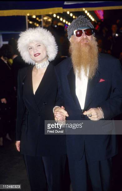 ZZ Top's Billy Gibbons and wife during Star Wars Special Edition Premiere at Leicester Square in London Great Britain