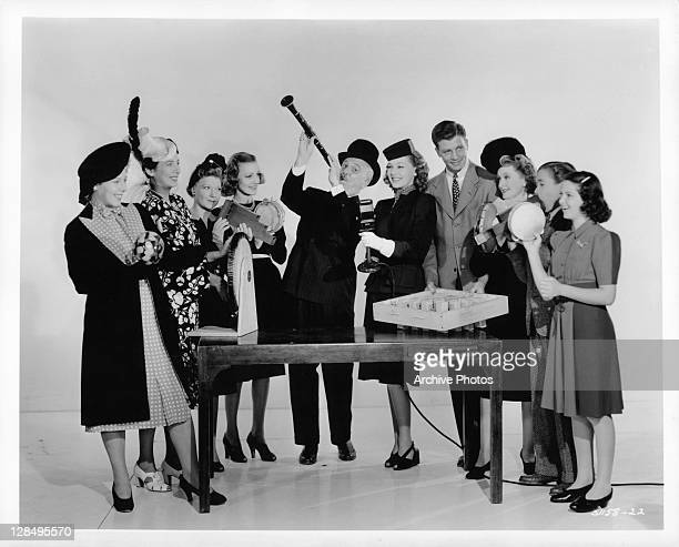 Tops in comedy is this cast of Connie Gilchrist Sara Haden Virginia Grey Frank Morgan Ann Morriss Dan Dailey Jr Larry Nunn and Leni Lynn in a scene...
