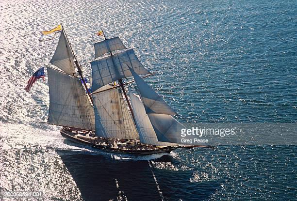 Topsail schooner under full sail, aerial view (Digital Enhancement)