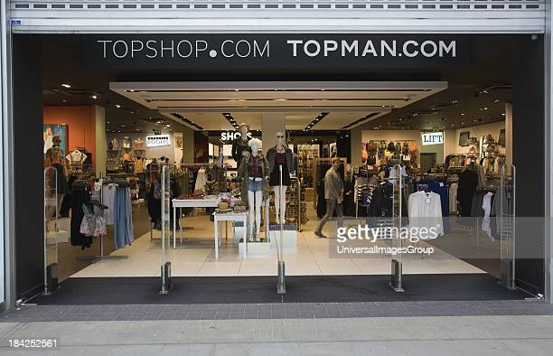Topshop and Topman shop in central business district of Swindon England