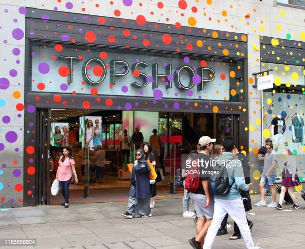 Topshop and Topman stores seen being covered with rainbow bubbles. Many retail stores in the capital's shopping heartland of the West End are...
